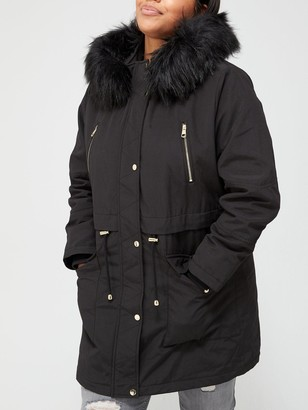 V By Very Curve Zip Detail Faux Fur Trim Hooded Parka Coat - Black