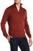 Toscano Mock Neck Long Sleeve Quarter Zip Merino Wool Sweater
