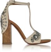 Roberto Cavalli Skin Suede High Heel Sandals w/Embroidered Beads