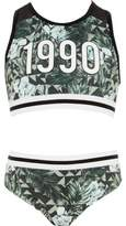 River Island Girls khaki leaf print '1990' bikini set