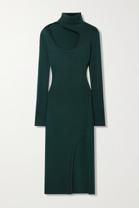 Monse Cutout Merino Wool Turtleneck Midi Dress - Forest green