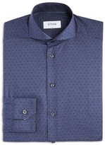 Eton of Sweden Small Denim Broken Polka Dot Slim Fit Dress Shirt