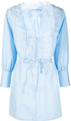 Ermanno Scervino Floral Lace Draped-Sleeved Blouse