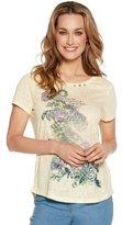 M&Co Floral slogan button t-shirt