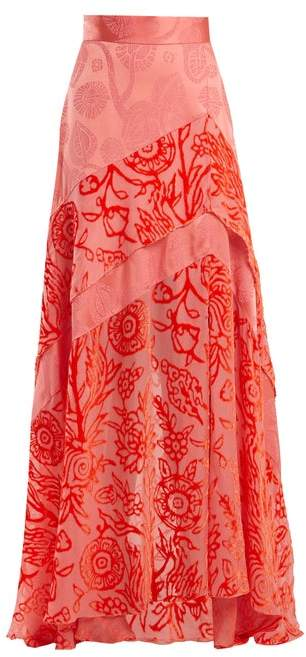 Peter Pilotto Floral-devore Velvet Skirt - Womens - Pink
