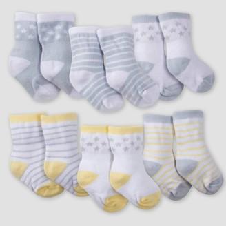 Gerber Baby 6pk Lamb Jersey Crew Socks - White/Gray/Yellow
