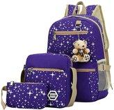 Magicub Backpacks for Girls Canvas School Shoulder Messenger Bag Purse 3 Pcs Set