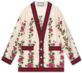 Gucci Rose Garden print silk cardigan