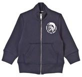 Diesel Navy Branded Jersey Zip Up Jacket