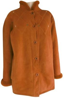 Celine Orange Shearling Coat for Women Vintage