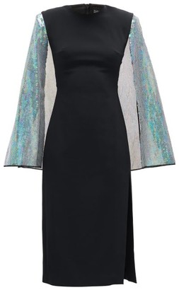 David Koma Cape-sleeve Sequinned Crepe Dress - Black