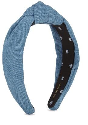 Lele Sadoughi Blue Knotted Denim Headband