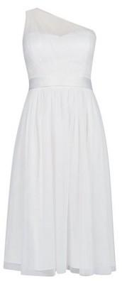 Dorothy Perkins Womens **Showcase Ivory Bridal One Shoulder Tammy Midi Dress, Ivory