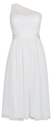 Dorothy Perkins Womens Showcase Ivory Bridal One Shoulder Tammy Midi Dress, Ivory