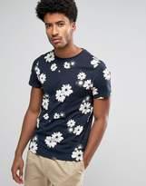 Farah Ragworth Slim Fit Floral Print Tshirt Navy