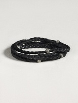John Varvatos Leather Wrap Bracelet