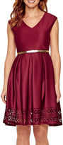 Tiana B Cap-Sleeve Belted Fit-and-Flare Dress - Petite