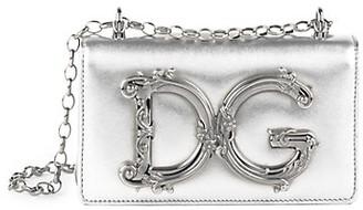 Dolce & Gabbana Girls Metallic Leather Crossbody Phone Case