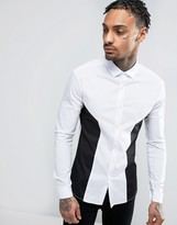 Asos Super Skinny Shirt With Cut And Sew Panels
