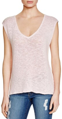 Velvet by Graham & Spencer Women's Cotton Crochet Short Sleeve V-Neck Top