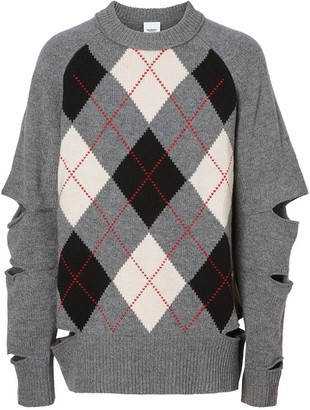 Burberry Cut-out Detail Merino Wool Cashmere Sweater