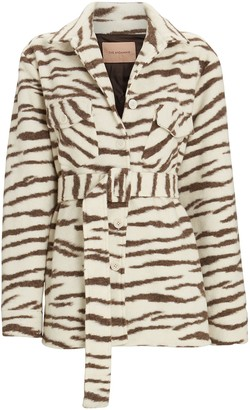 Andamane Evita Zebra Striped Shirt Jacket