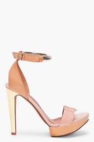 LANVIN Peach And Beige Suede Heels