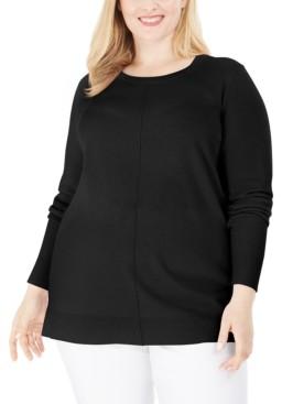 Karen Scott Plus Size Scoop-Neck Seamed Sweater, Created for Macy's