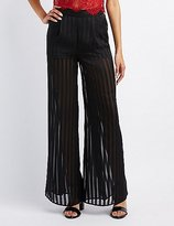 Charlotte Russe Shadow Stripe Wide-Leg Pants