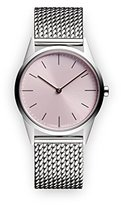 Uniform Wares C33 Quartz Watch with Pink Analogue Dial with Silver Stainless Steel Strap