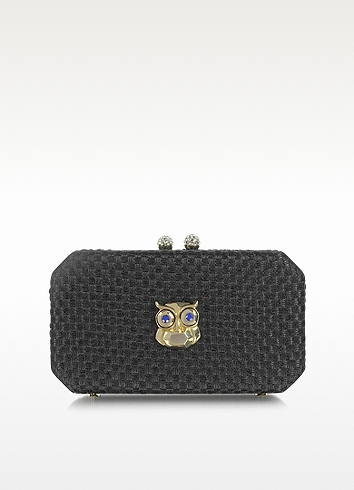 Moschino Black Woven Fabric Clutch with Owl