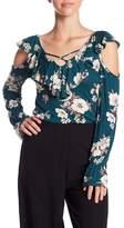 Soprano Floral Shoulder Cutout Blouse