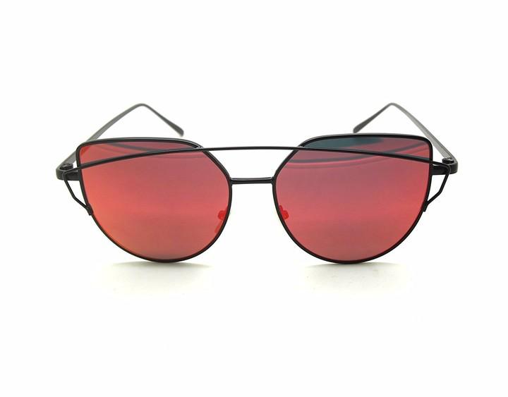 Boolavard Fashion Women Cat Eyes Sunglasses Classic Brands Designer Twin Beams Sunglasses Lady Coating Mirror Flat Panel Lens