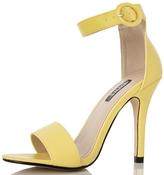 Quiz Yellow Buckle Strap Heeled Sandals