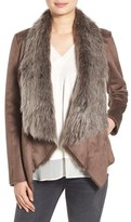 BCBGeneration Women's Faux Shearling Drape Front Jacket