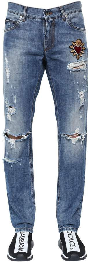 Dolce & Gabbana 17cm Destroyed Cotton Denim Jeans