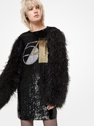 Michael Kors Studio 54 Sequined Silk-Georgette Feather-Sleeve Shift Dress