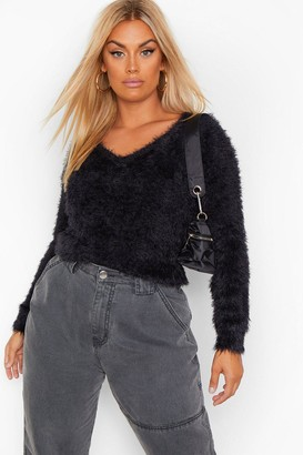 boohoo Plus Feather Knitted V Neck sweater