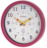 U-NI-TY 25 cm Henley Children's Learn the Time Wall Clock, Pink