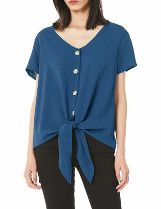 Actloe Womens V Neck Short Sleeves Button Down Casual Blouses Front Tie Tops Blue Small