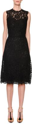 Dolce & Gabbana Sleeveless Cordonetto-Lace Illusion Midi Dress