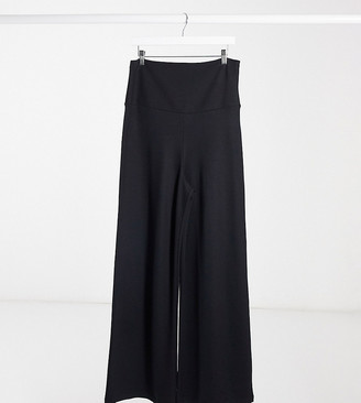 GeBe Maternity over-the-bump wide leg trousers in black