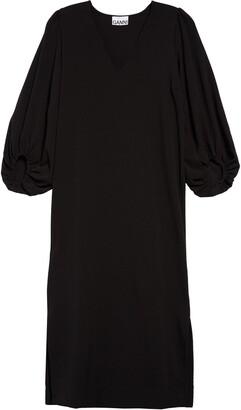 Ganni Balloon Sleeve Crepe Dress