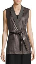 Lafayette 148 New York Scarlet Tailored Leather Tie-Waist Vest, Gray