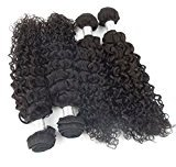 """Echo Beauty 7A Grade Virgin Remy Indian Deep Curly Hair Extensions Weave ,Natural Black Color 4 Bundles (14""""16""""18""""20"""")"""