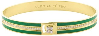 Alessa Yellow Gold and Diamond Spectrum Equality Solid Bangle