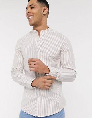Topman long sleeve striped oxford shirt in brown & white