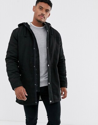 ONLY & SONS parka with fleece lined hood in black