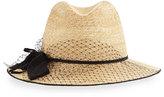 Inverni Indi Straw Fedora Hat w/ Netting, Natural