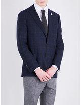 Lardini Windowpane Check Slim-fit Wool Jacket
